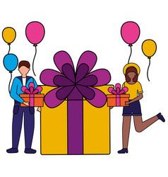 woman and man gift balloons birthday celebration vector image