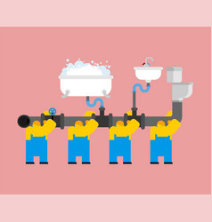 Workers and plumbing builders and sewage system vector