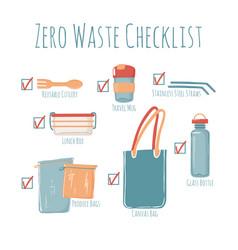 Zero waste checklist poster with captions vector