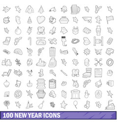 100 new year icons set outline style vector image vector image
