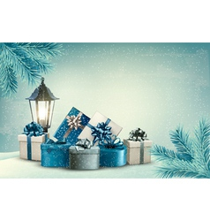 Christmas background with a lantern and presents vector image