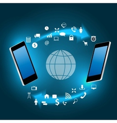 Global connecting concept with mobile phone vector image