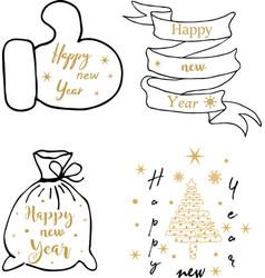 merry christmas happy new yeartypography set vector image