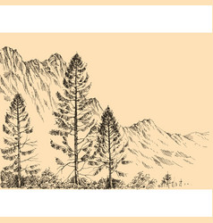alpine landscape drawing vector image