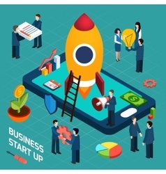 Business startup launch concept isometric poster vector image
