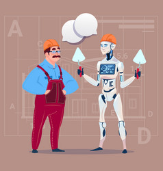 Cartoon builder working with robot holding spatula vector