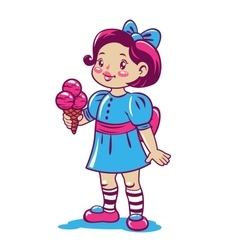Cute cartoon little girl with ice cream vector image