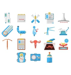 Flat design icons collection of gynecology vector image vector image