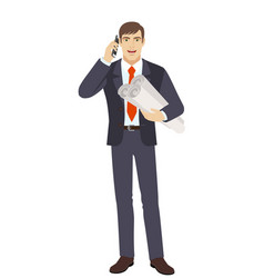 businessman holding the project plans and talking vector image vector image