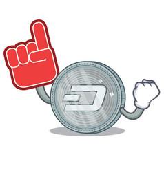 Foam finger dash coin character cartoon vector
