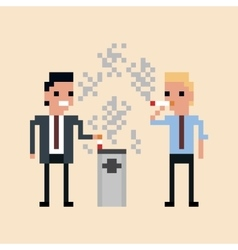 pixel art of office workers smoking a vector image