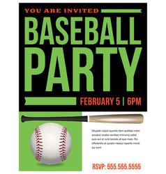 baseball party flyer invitation vector image