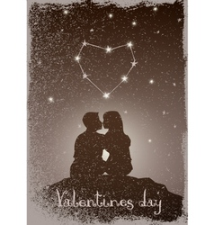 Kissing couple under the constellation of love vector image vector image
