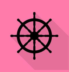ship wheel sign black icon with flat style shadow vector image