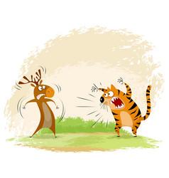 Tiger snarls on elk vector