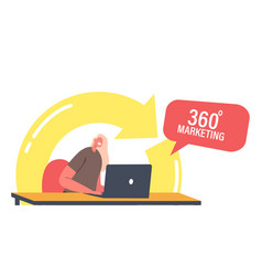 360 degree marketing concept manager female vector