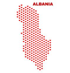 Albania map - mosaic of love hearts vector