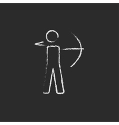 Archer with bow icon drawn in chalk vector image