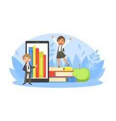 back to school tiny cute elementary school boy vector image