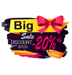 big sale discounts and offers label with caption vector image