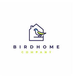 bird house minimalist line art logo design vector image