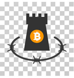 Bitcoin barbwire bulwark icon vector