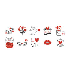 black and red hand drawn romantic love icons set vector image