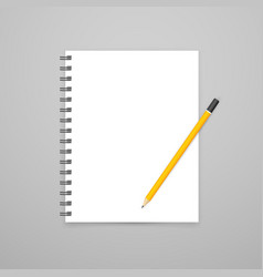 blank open white notebook with pencil mockup vector image vector image