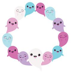 Blue purple ghost friends circle wreath vector