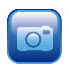 Blue square frame with analog camera icon vector