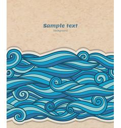 Blue waves pattern on cardboard background volume vector