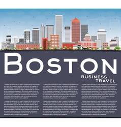 Boston Skyline with Buildings Blue Sky vector