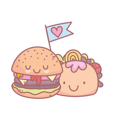 Burger and taco character menu restaurant cartoon vector