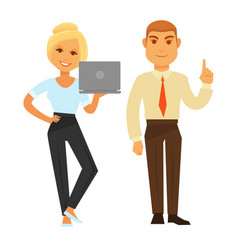 business woman with laptop and man showing have vector image