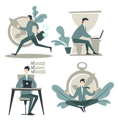 Businessman and time management work planning and vector