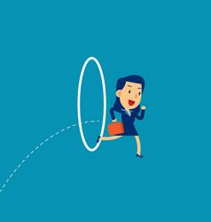 Businesswoman jumping through hoop concept vector