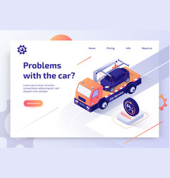 Car tow company online service web banner vector