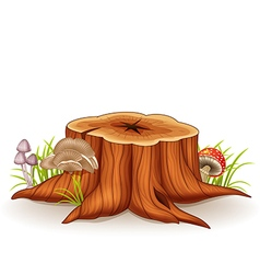 Cartoon of tree stump and mushroom vector