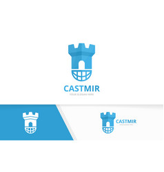 Castle and planet logo combination tower vector