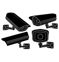 cctv security cameras black outline set vector image