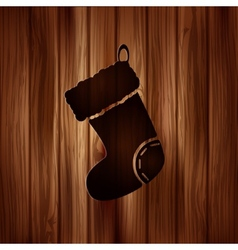 Christmas socks icon Wooden background vector