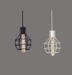 Collection vintage symbols light bulbs and vector