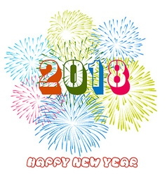 Colorful fireworks Happy new year 2018 t vector