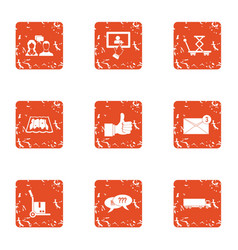 Commercial negotiation icons set grunge style vector