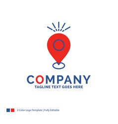 Company name logo design for location pin camping vector