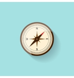 Compass in a flat style Travelhiking camping or vector image