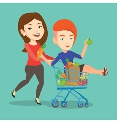 Couple of friends riding by shopping trolley vector