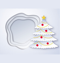 cut paper christmas tree vector image