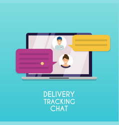delivery tracking chat computer with text vector image