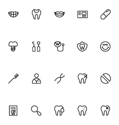 Dental Line Icons 3 vector